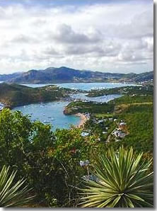 View from Shirley Heights of English Harbor Antigua