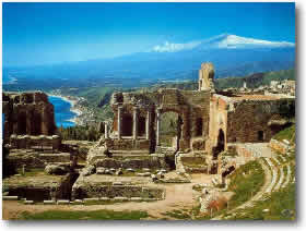 Sicily Greek Theatre ruins visited on motor yacht vacation